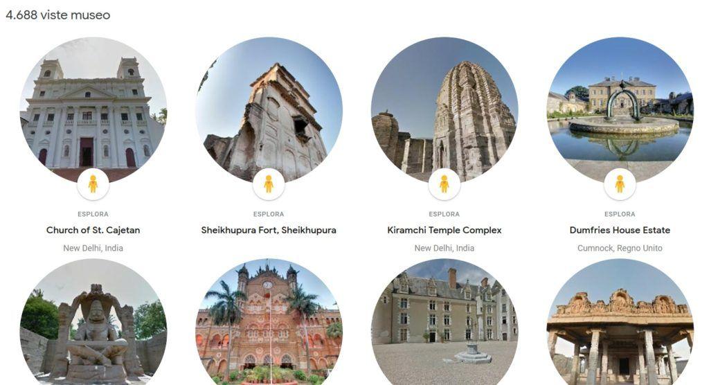 Schermata con i musei virtuali visitabili attraverso Google Arts and Culture - Streetview