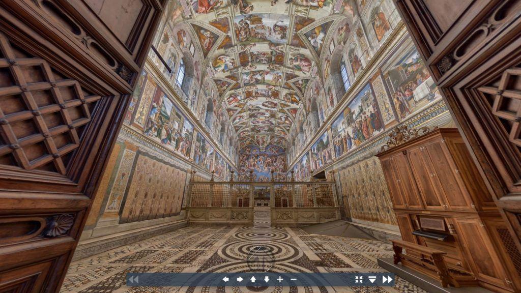 Una schermata del museo virtuale dei musei vaticani. Inquadratura della Cappella Sistina