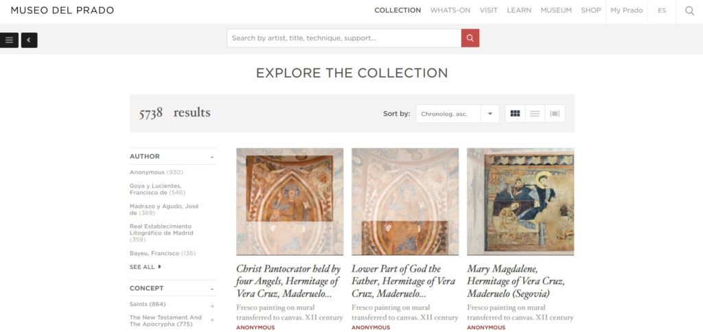 Una schermata online del museo del Prado