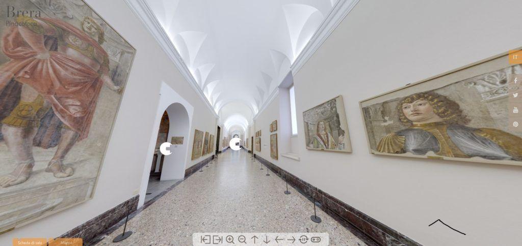 Una schermata del museo virtuale della pinacoteca di Brera