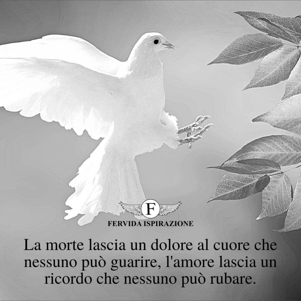 La morte lascia un dolore al cuore che nessuno può guarire, l'amore lascia un ricordo che nessuno può rubare. - citazione