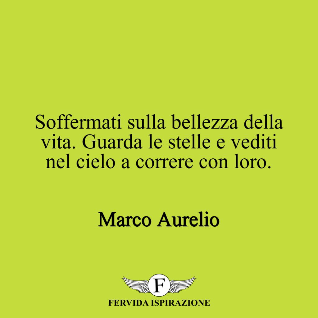 Soffermati sulla bellezza della vita. Guarda le stelle e vediti nel cielo a correre con loro. ~ Marco Aurelio