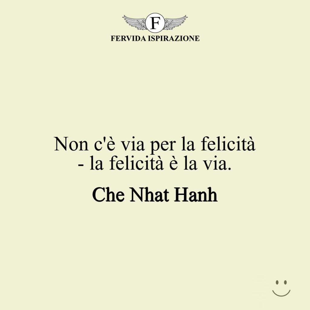 Non c'è via per la felicità - la felicità è la via.  ~ Che Nhat Hanh - frase / aforisma / citazione
