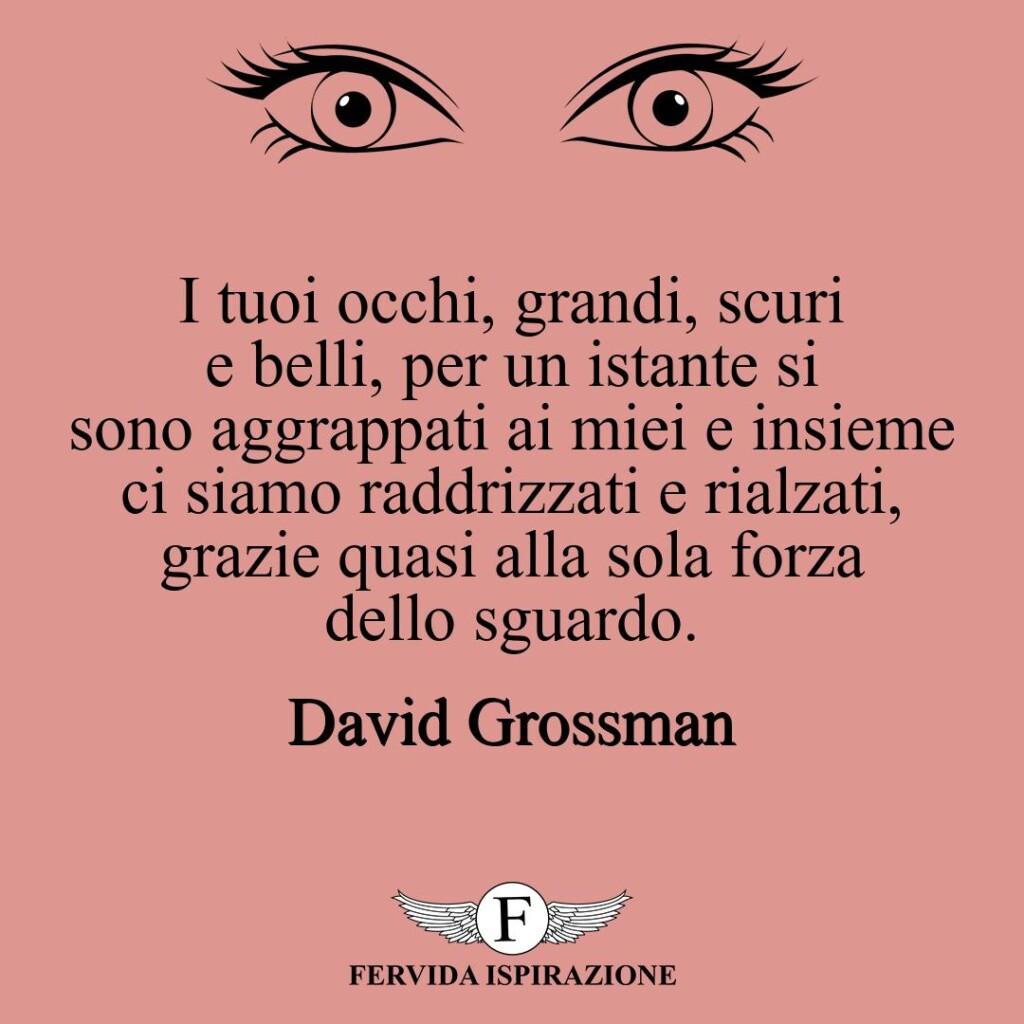 I tuoi occhi, grandi, scuri e belli, per un istante si sono aggrappati ai miei e insieme ci siamo raddrizzati e rialzati, grazie quasi alla sola forza dello sguardo.  ~ David Grossman