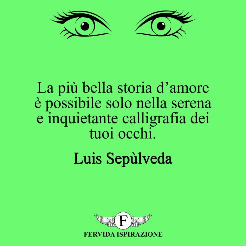 La più bella storia d'amore è possibile solo nella serena e inquietante calligrafia dei tuoi occhi.  ~ Luis Sepùlveda
