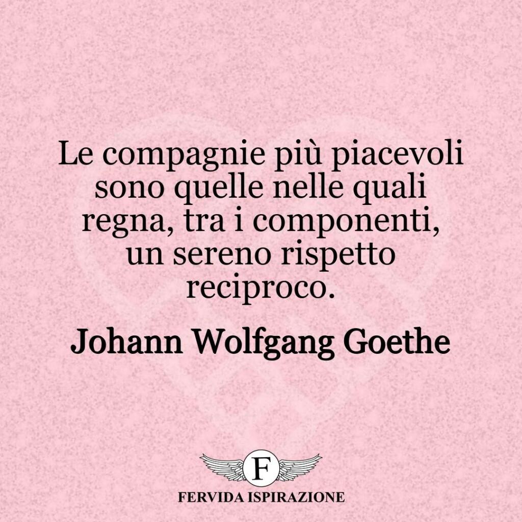 Le compagnie più piacevoli sono quelle nelle quali regna, tra i componenti, un sereno rispetto reciproco.  ~ Johann Wolfgang Goethe