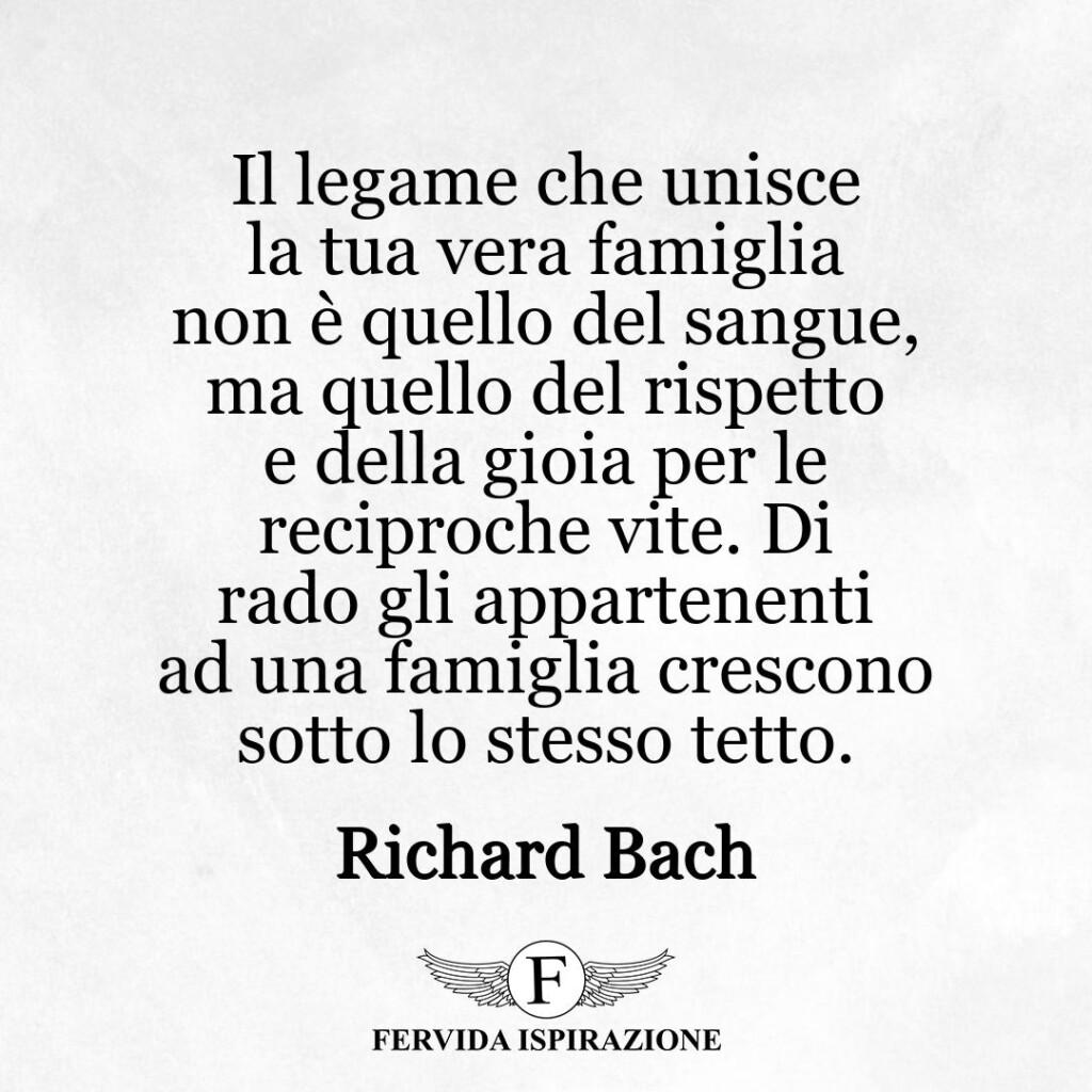 Il legame che unisce la tua vera famiglia non è quello del sangue, ma quello del rispetto e della gioia per le reciproche vite. Di rado gli appartenenti ad una famiglia crescono sotto lo stesso tetto.  ~ Richard Bach