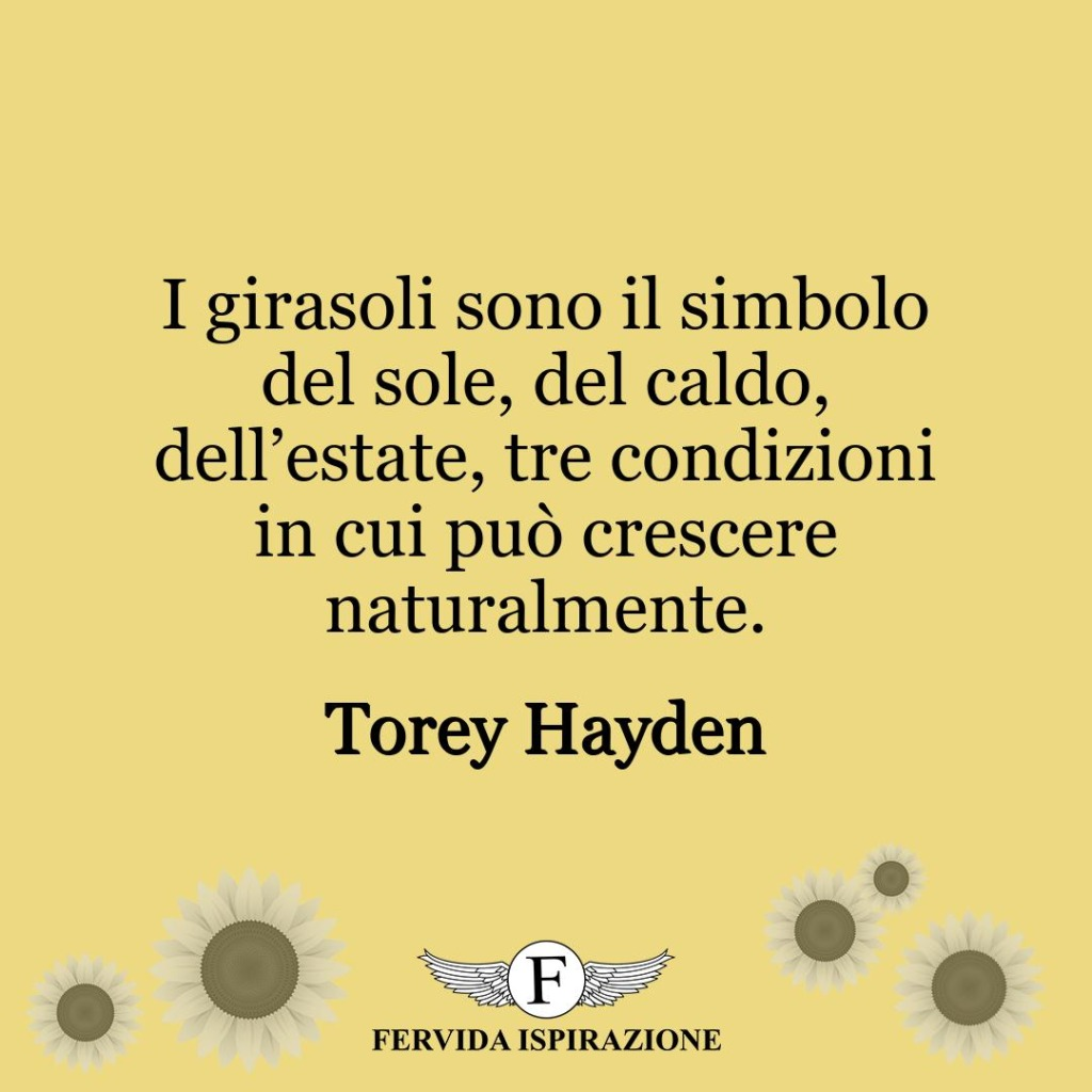 I girasoli sono il simbolo del sole, del caldo, dell'estate, tre condizioni in cui può crescere naturalmente.  ~ Torey Hayden