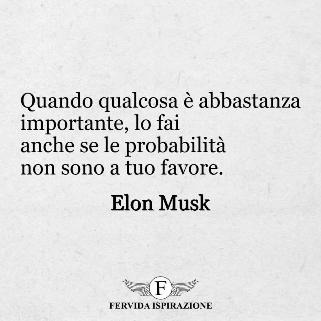 """11. """"Quando qualcosa è abbastanza importante, lo fai anche se le probabilità non sono a tuo favore"""". - Elon Musk"""
