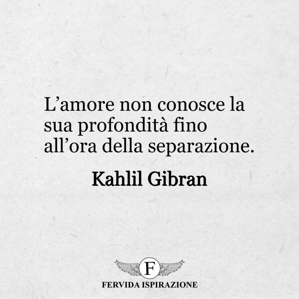 L'amore non conosce la sua profondità fino all'ora della separazione. ~ Kahlil Gibran