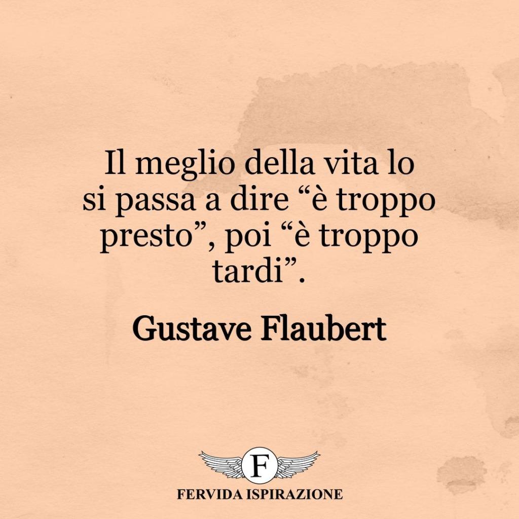 """Il meglio della vita lo si passa a dire """"è troppo presto"""", poi """"è troppo tardi"""". ~ Gustave Flaubert"""